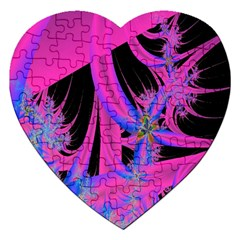 Fractal In Bright Pink And Blue Jigsaw Puzzle (Heart)