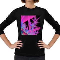Fractal In Bright Pink And Blue Women s Long Sleeve Dark T Shirts