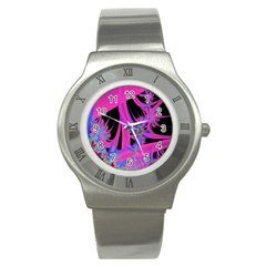 Fractal In Bright Pink And Blue Stainless Steel Watch