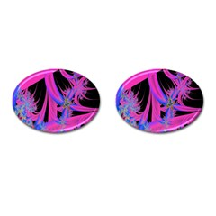 Fractal In Bright Pink And Blue Cufflinks (Oval)