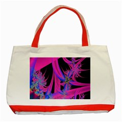 Fractal In Bright Pink And Blue Classic Tote Bag (Red)