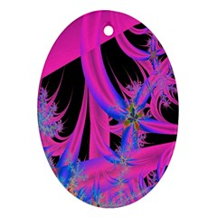 Fractal In Bright Pink And Blue Oval Ornament (Two Sides)