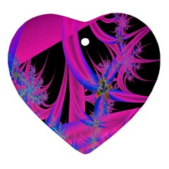 Fractal In Bright Pink And Blue Heart Ornament (two Sides)