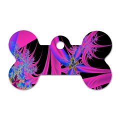 Fractal In Bright Pink And Blue Dog Tag Bone (one Side)