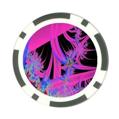 Fractal In Bright Pink And Blue Poker Chip Card Guard