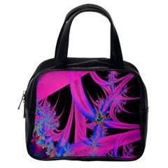 Fractal In Bright Pink And Blue Classic Handbags (one Side)