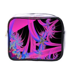 Fractal In Bright Pink And Blue Mini Toiletries Bags