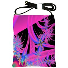 Fractal In Bright Pink And Blue Shoulder Sling Bags