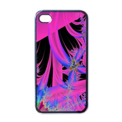 Fractal In Bright Pink And Blue Apple Iphone 4 Case (black)