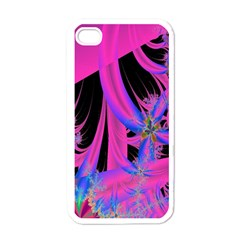 Fractal In Bright Pink And Blue Apple Iphone 4 Case (white)