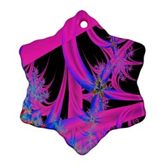 Fractal In Bright Pink And Blue Ornament (Snowflake)