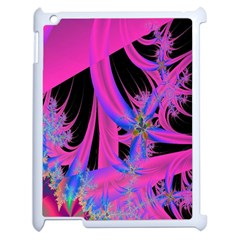 Fractal In Bright Pink And Blue Apple iPad 2 Case (White)