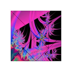 Fractal In Bright Pink And Blue Acrylic Tangram Puzzle (4  X 4 )