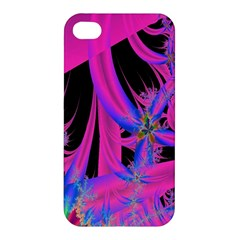 Fractal In Bright Pink And Blue Apple iPhone 4/4S Premium Hardshell Case