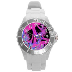 Fractal In Bright Pink And Blue Round Plastic Sport Watch (l)