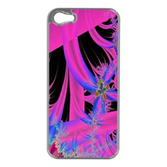 Fractal In Bright Pink And Blue Apple iPhone 5 Case (Silver)