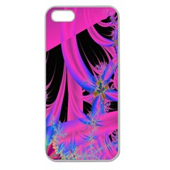 Fractal In Bright Pink And Blue Apple Seamless iPhone 5 Case (Clear)