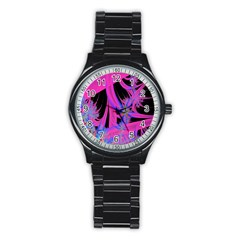 Fractal In Bright Pink And Blue Stainless Steel Round Watch