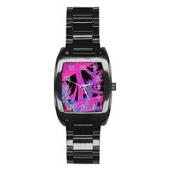 Fractal In Bright Pink And Blue Stainless Steel Barrel Watch