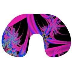 Fractal In Bright Pink And Blue Travel Neck Pillows