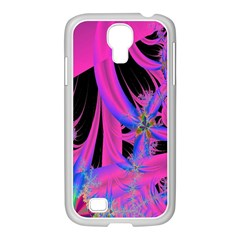 Fractal In Bright Pink And Blue Samsung GALAXY S4 I9500/ I9505 Case (White)