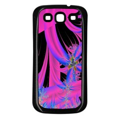 Fractal In Bright Pink And Blue Samsung Galaxy S3 Back Case (Black)