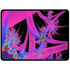Fractal In Bright Pink And Blue Double Sided Fleece Blanket (Large)