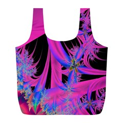 Fractal In Bright Pink And Blue Full Print Recycle Bags (L)