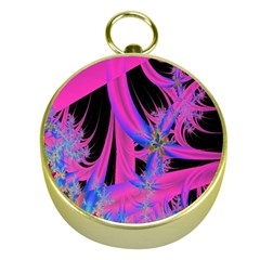 Fractal In Bright Pink And Blue Gold Compasses