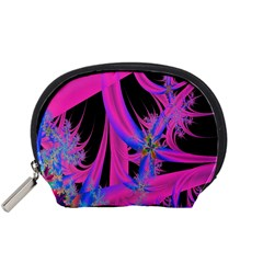 Fractal In Bright Pink And Blue Accessory Pouches (Small)
