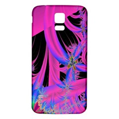 Fractal In Bright Pink And Blue Samsung Galaxy S5 Back Case (White)