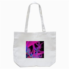 Fractal In Bright Pink And Blue Tote Bag (White)