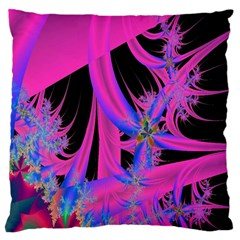 Fractal In Bright Pink And Blue Large Flano Cushion Case (Two Sides)