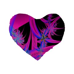 Fractal In Bright Pink And Blue Standard 16  Premium Flano Heart Shape Cushions