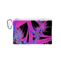 Fractal In Bright Pink And Blue Canvas Cosmetic Bag (S)