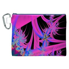 Fractal In Bright Pink And Blue Canvas Cosmetic Bag (xxl)