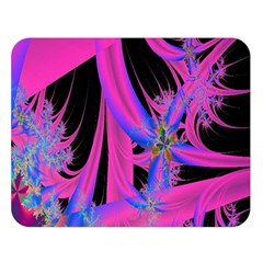 Fractal In Bright Pink And Blue Double Sided Flano Blanket (large)