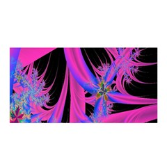 Fractal In Bright Pink And Blue Satin Wrap