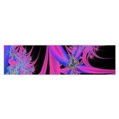 Fractal In Bright Pink And Blue Satin Scarf (Oblong)
