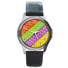 Colorful Easter Ribbon Background Round Metal Watch