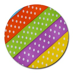 Colorful Easter Ribbon Background Round Mousepads