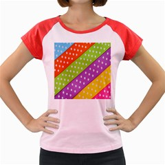 Colorful Easter Ribbon Background Women s Cap Sleeve T-Shirt