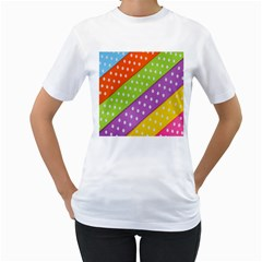Colorful Easter Ribbon Background Women s T Shirt (white) (two Sided)