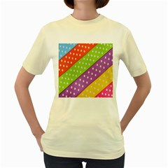 Colorful Easter Ribbon Background Women s Yellow T Shirt