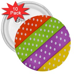 Colorful Easter Ribbon Background 3  Buttons (10 Pack)
