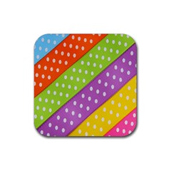 Colorful Easter Ribbon Background Rubber Coaster (square)