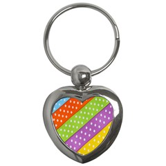 Colorful Easter Ribbon Background Key Chains (heart)
