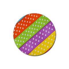 Colorful Easter Ribbon Background Rubber Coaster (round)