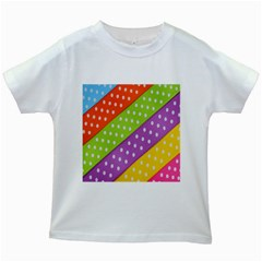 Colorful Easter Ribbon Background Kids White T Shirts
