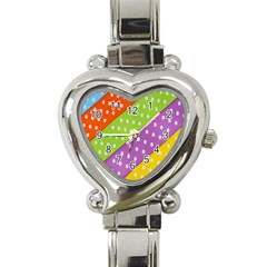Colorful Easter Ribbon Background Heart Italian Charm Watch